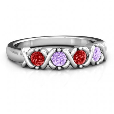 2 to 5 Stone Hugs and Kisses XOXO Ring  - Crafted By Birthstone Design™