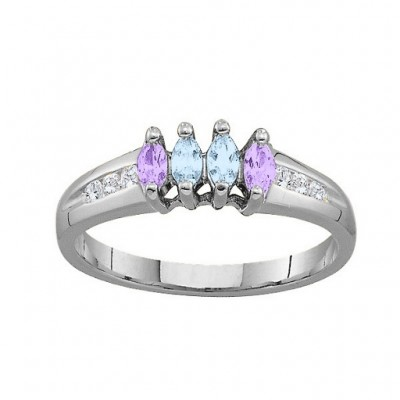 3-6 Marquise Ring With Channel Set Accents - Crafted By Birthstone Design™