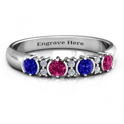 3-6 Stone Circular Half Bezel and Twin Accent Ring  - Crafted By Birthstone Design™