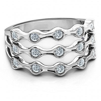 3 Row Fashion Wave Ring - Crafted By Birthstone Design™