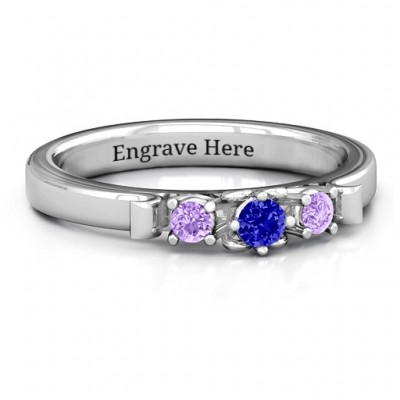 3-Stone Ring with Heart Gallery  - Crafted By Birthstone Design™