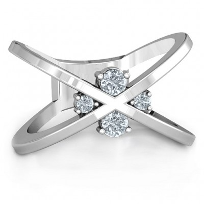 4 Stone Crossover Ring  - Crafted By Birthstone Design™