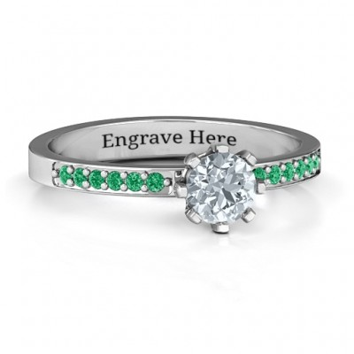8 Prong Solitaire Set Ring with Twin Channel Accent Rows - Crafted By Birthstone Design™