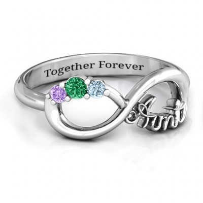 Aunt's Infinite Love Ring with Stones  - Crafted By Birthstone Design™