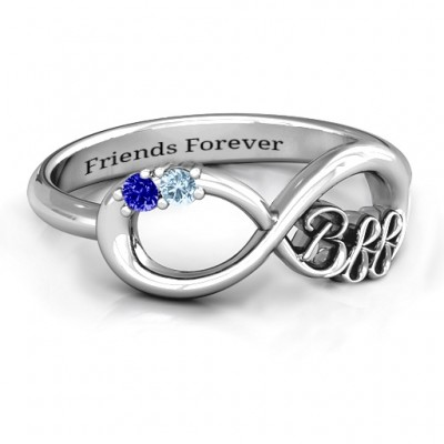 BFF Friendship Infinity Ring with 2 - 7 Stones  - Crafted By Birthstone Design™