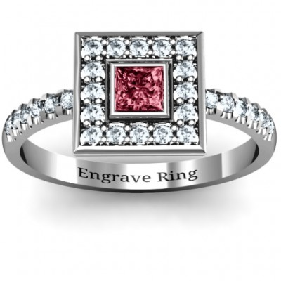 Bezel Princess Stone with Channel Accents in the Band Ring  - Crafted By Birthstone Design™