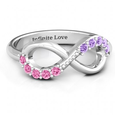Birthstone Infinity Accent Ring  - Crafted By Birthstone Design™