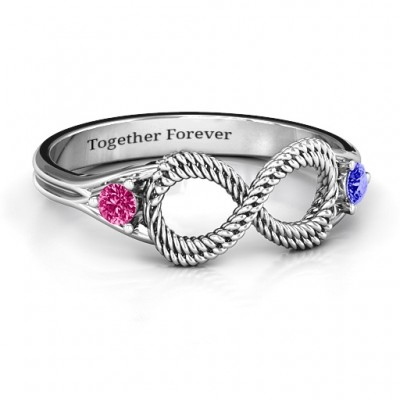 Braided Infinity Ring with Two Stones  - Crafted By Birthstone Design™