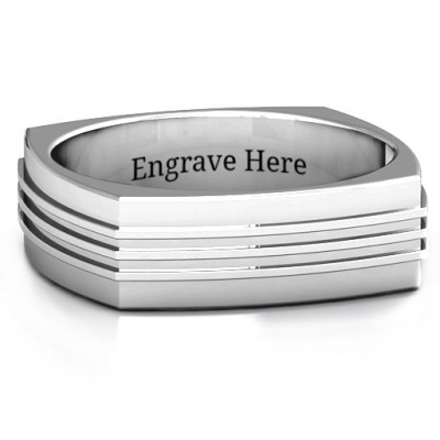 Bridge Grooved Square-shaped Men's Ring - Crafted By Birthstone Design™