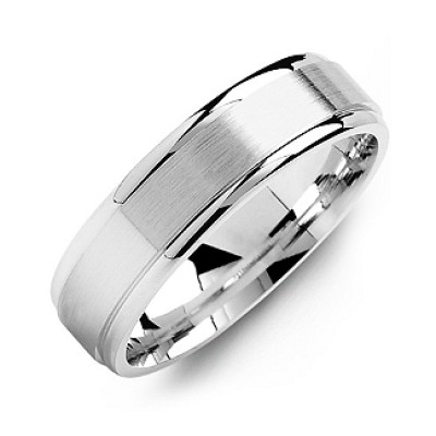 Brushed Centre Men's Ring with Polished Edges - Crafted By Birthstone Design™