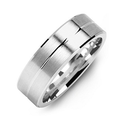 Brushed Men's Ring with Beveled Edges and Lined Centre - Crafted By Birthstone Design™