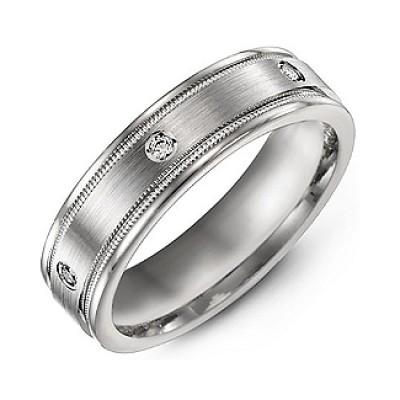 Brushed Milgrain Men's Ring with Gemstone Accents  - Crafted By Birthstone Design™