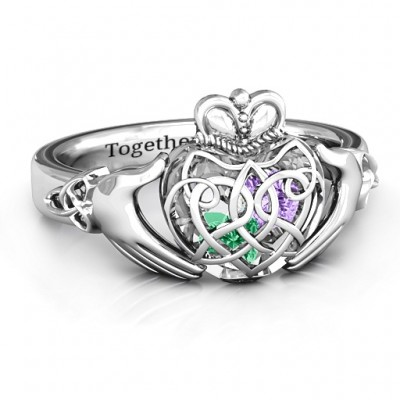 Caged Hearts Celtic Claddagh Ring - Crafted By Birthstone Design™