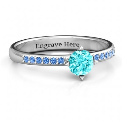 Centre Round Stone Ring with Twin Accent Rows  - Crafted By Birthstone Design™