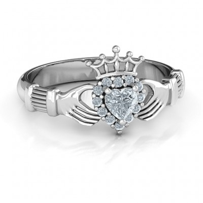 Claddagh with Halo Ring - Crafted By Birthstone Design™