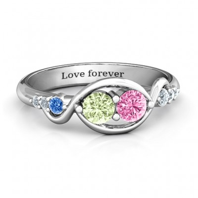 Classic Curves Two-Stone Ring  - Crafted By Birthstone Design™