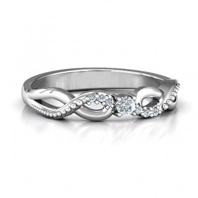 Classic Solitare Sparkle Ring with Accented Infinity Band - Crafted By Birthstone Design™