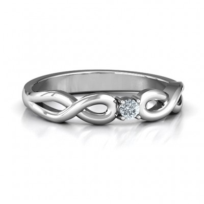 Classic Solitare Sparkle Ring with Infinity Band - Crafted By Birthstone Design™