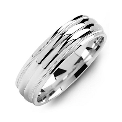 Classic Two-Line Milgrain Men's Ring - Crafted By Birthstone Design™