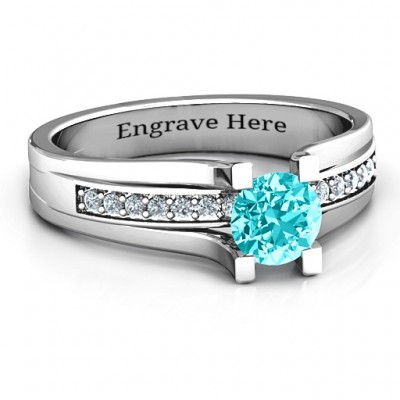 Column Set Solitaire Ring - Crafted By Birthstone Design™