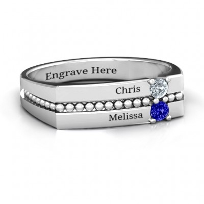 Crevice Beaded Women's Ring - Crafted By Birthstone Design™