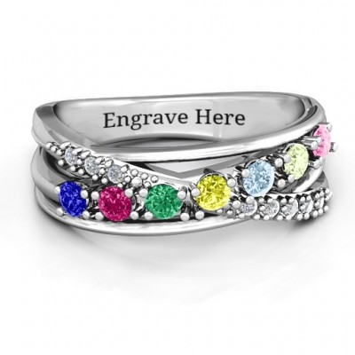 Crossover Accent Multi Band Ring - Crafted By Birthstone Design™