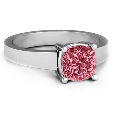 Cushion Cut Solitaire Ring - Crafted By Birthstone Design™