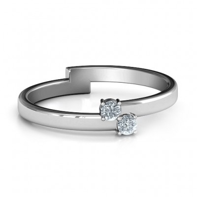 Diagonal Dazzle Ring With 2-3 Gemstones  - Crafted By Birthstone Design™