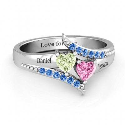 Diagonal Dream Ring With Heart Stones  - Crafted By Birthstone Design™