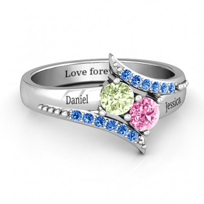 Diagonal Dream Ring With Round Stones  - Crafted By Birthstone Design™