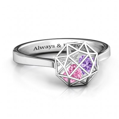 Diamond Cage Ring with Encased Heart Stones  - Crafted By Birthstone Design™