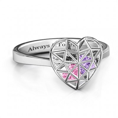 Diamond Heart Cage Ring With Encased Heart Stones  - Crafted By Birthstone Design™
