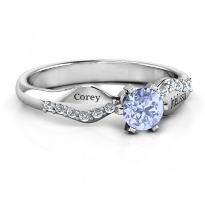 Dimpled Solitaire with Accents Ring - Crafted By Birthstone Design™
