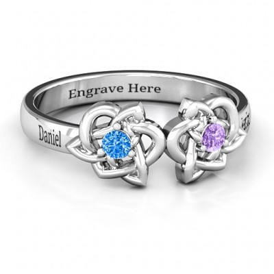 Double Celtic Gemstone Ring  - Crafted By Birthstone Design™