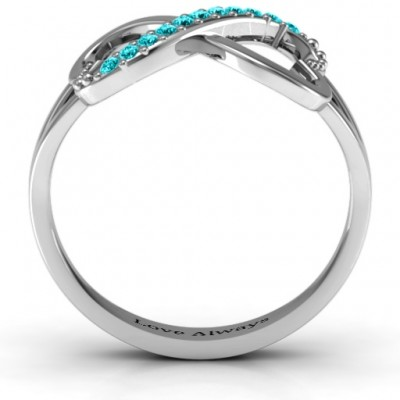 Double Heart Infinity Ring with Accents - Crafted By Birthstone Design™