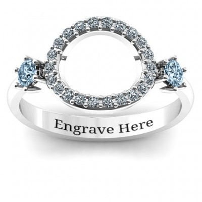 Double stone Karma Ring with Accents  - Crafted By Birthstone Design™