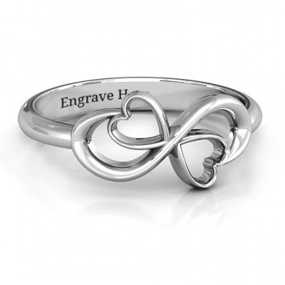 Duo of Hearts Infinity Ring - Crafted By Birthstone Design™