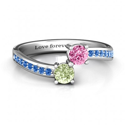 Elegant Accent Two Stone Ring  - Crafted By Birthstone Design™