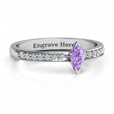 Elegant Marquise with Accent Band Ring - Crafted By Birthstone Design™