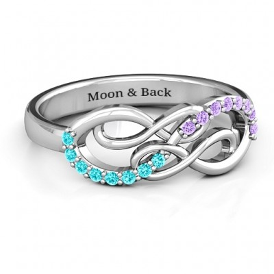 Everlasting Infinity Ring with Gemstones  - Crafted By Birthstone Design™