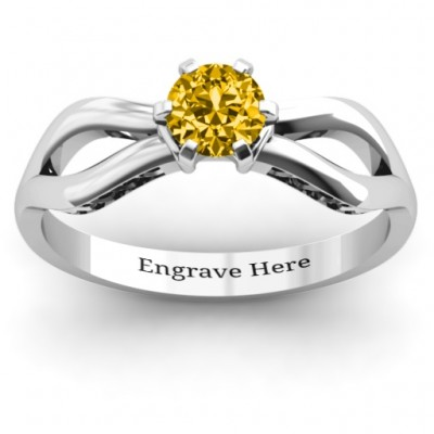 Fancy Split Shank Solitaire Ring - Crafted By Birthstone Design™