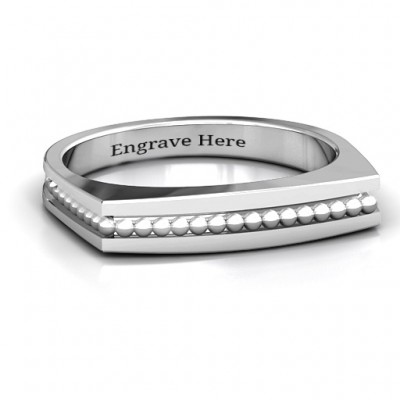 Fissure Beaded Groove Women's Ring - Crafted By Birthstone Design™