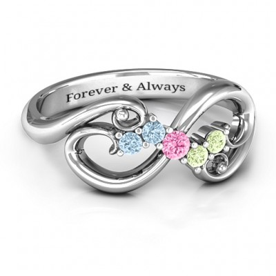 Flourish Infinity Ring with Gemstones  - Crafted By Birthstone Design™