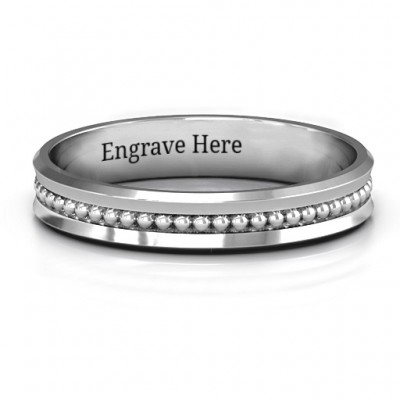 Forge Beaded Groove Bevelled Women's Ring - Crafted By Birthstone Design™