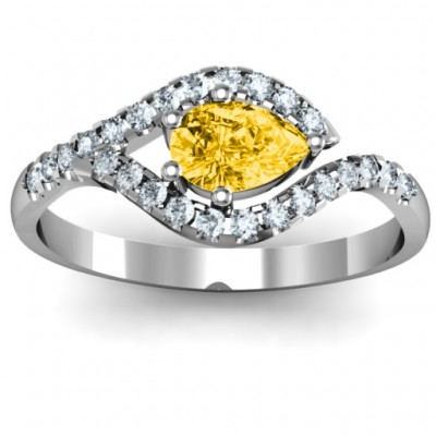 Golden Eye Pear Ring with Accent Infusion - Crafted By Birthstone Design™