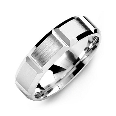 Grooved Men's Ring with Brushed Surface - Crafted By Birthstone Design™