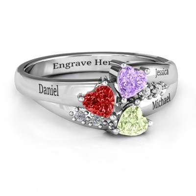 Heart Cluster Ring with Accents - Crafted By Birthstone Design™