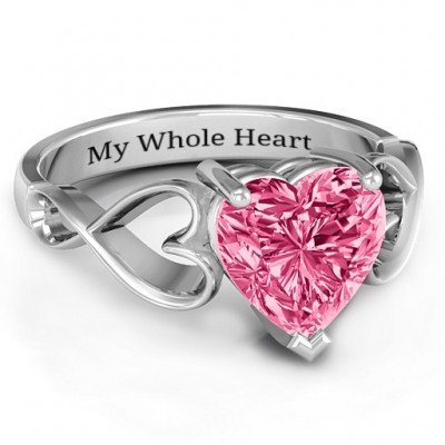 Heart Shaped Stone with Interwoven Heart Infinity Band Ring  - Crafted By Birthstone Design™