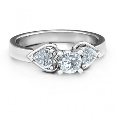 Hearts and Stones Solitaire Ring  - Crafted By Birthstone Design™