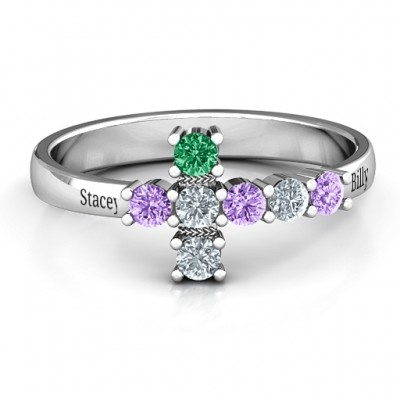 I Believe' Side Cross Ring - Crafted By Birthstone Design™